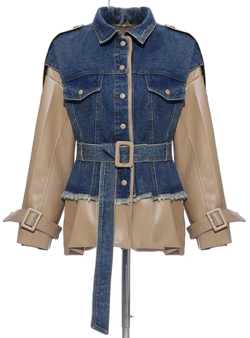 Jessica Bara Kasia Faux Leather and Denim Jacket