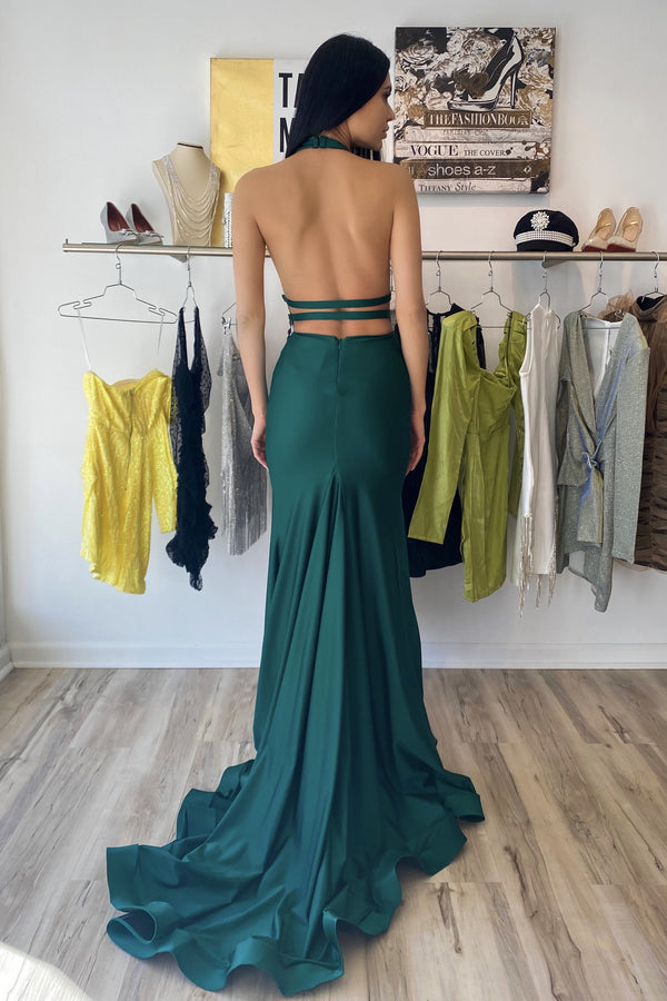 Atria V Neck Backless Double Slit Gown