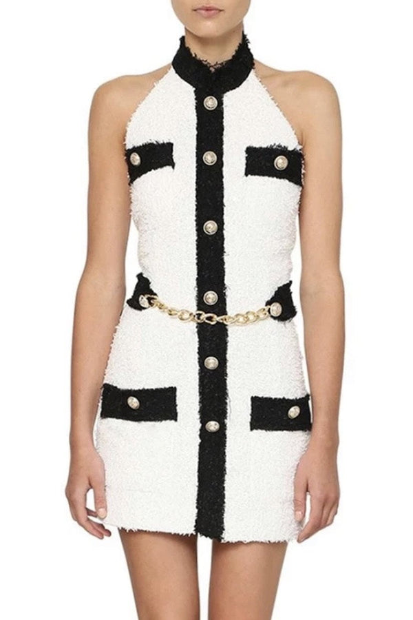 Jessica Bara Noah Halter Neck Belted Mini Dress