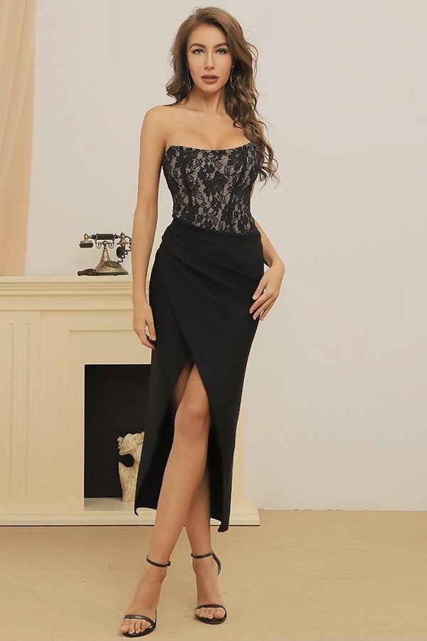 Jessica Bara Normani Strapless Lace Dress