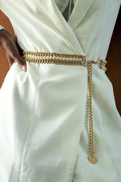 B-Low The Belt Miri Pearl Chain Belt