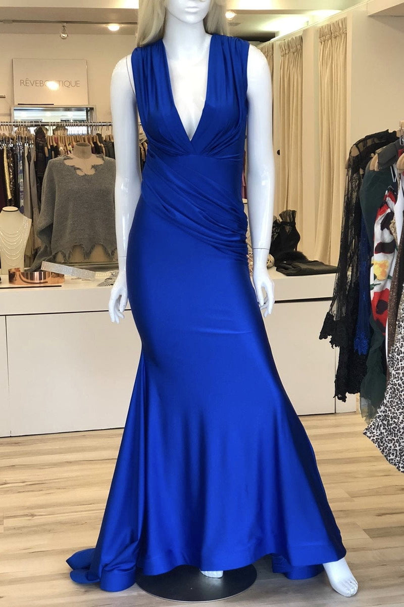 Jessica Bara Ronja V Neck Draped Bodycon Gown