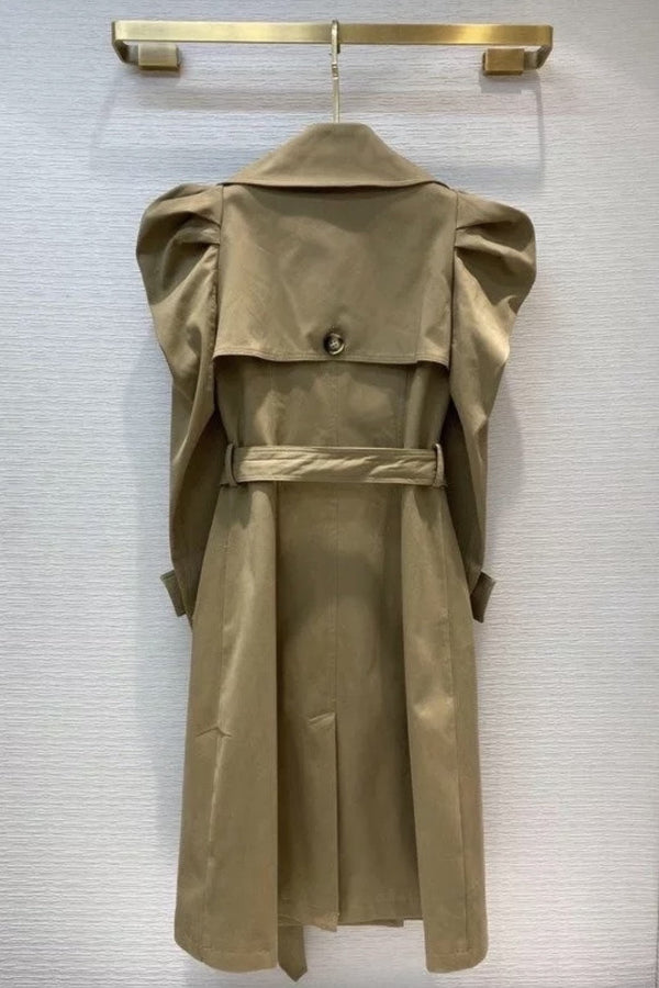 Jessica Bara Noah Puff Sleeve Belted Trench Coat