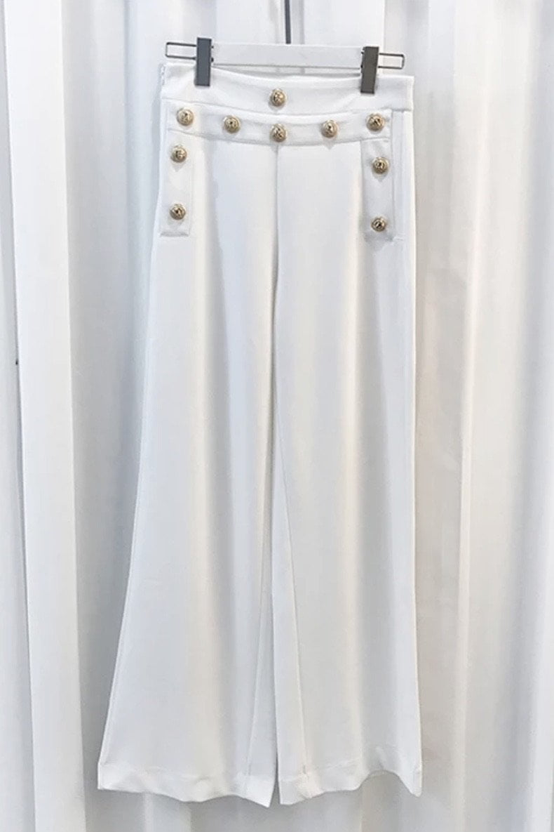 Jessica Bara Luke High Waisted Gold Button Pants