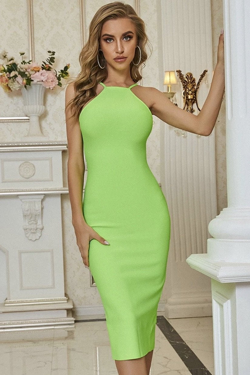 Jessica Bara Avianna High Neck Neon Midi Dress
