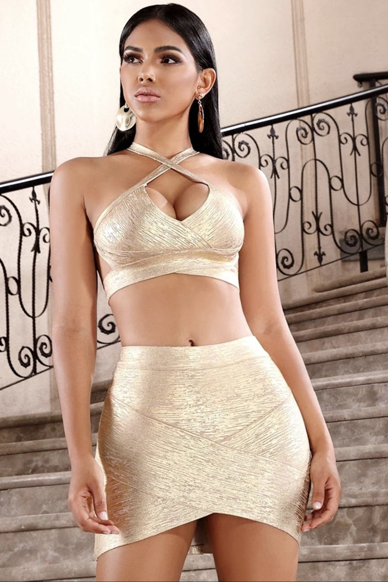 Jessica Bara Liz Bandage Crop Top and Skirt Two Piece Set