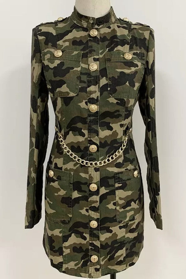 Jessica Bara Novah Camouflage Belted Mini Dress