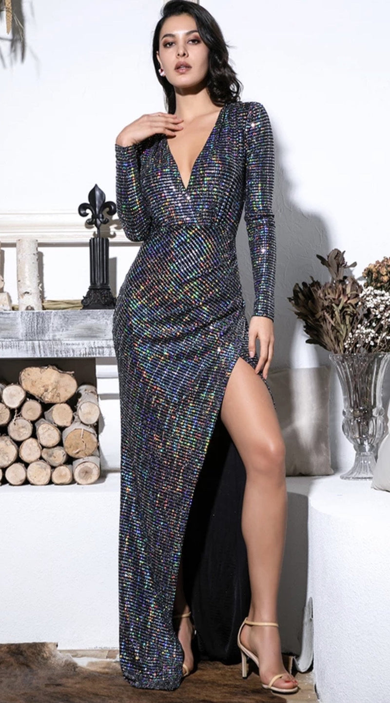 Jessica Bara Sloan Long Sleeve V Neck Glitter Gown