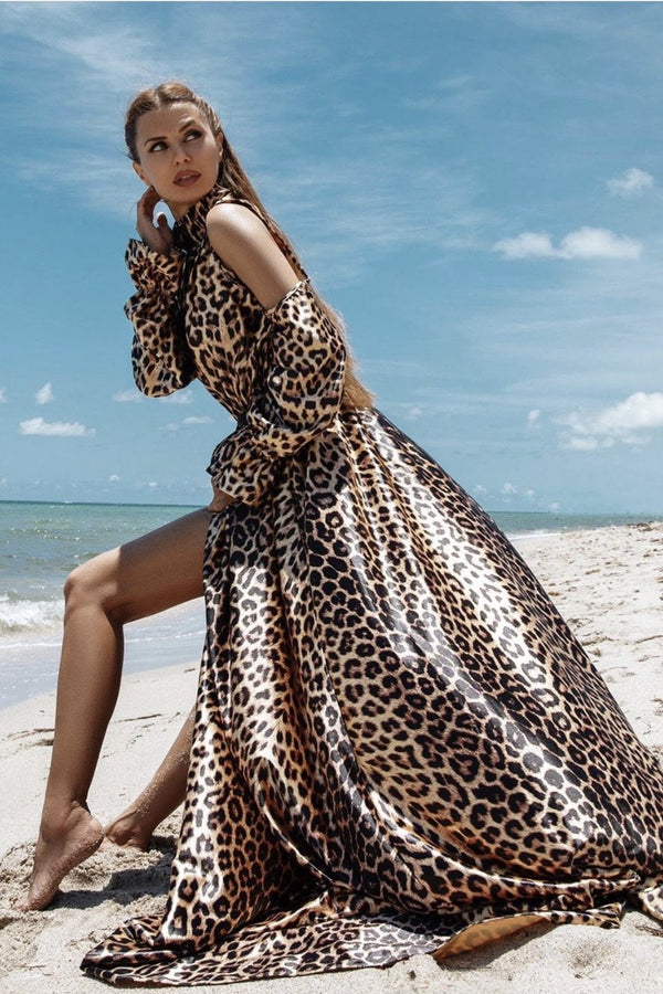 Jessica Bara Kaylana Leopard High Neck Maxi Dress