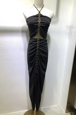 Jessica Bara Josiah Halter Neck Metal Chain Maxi Dress