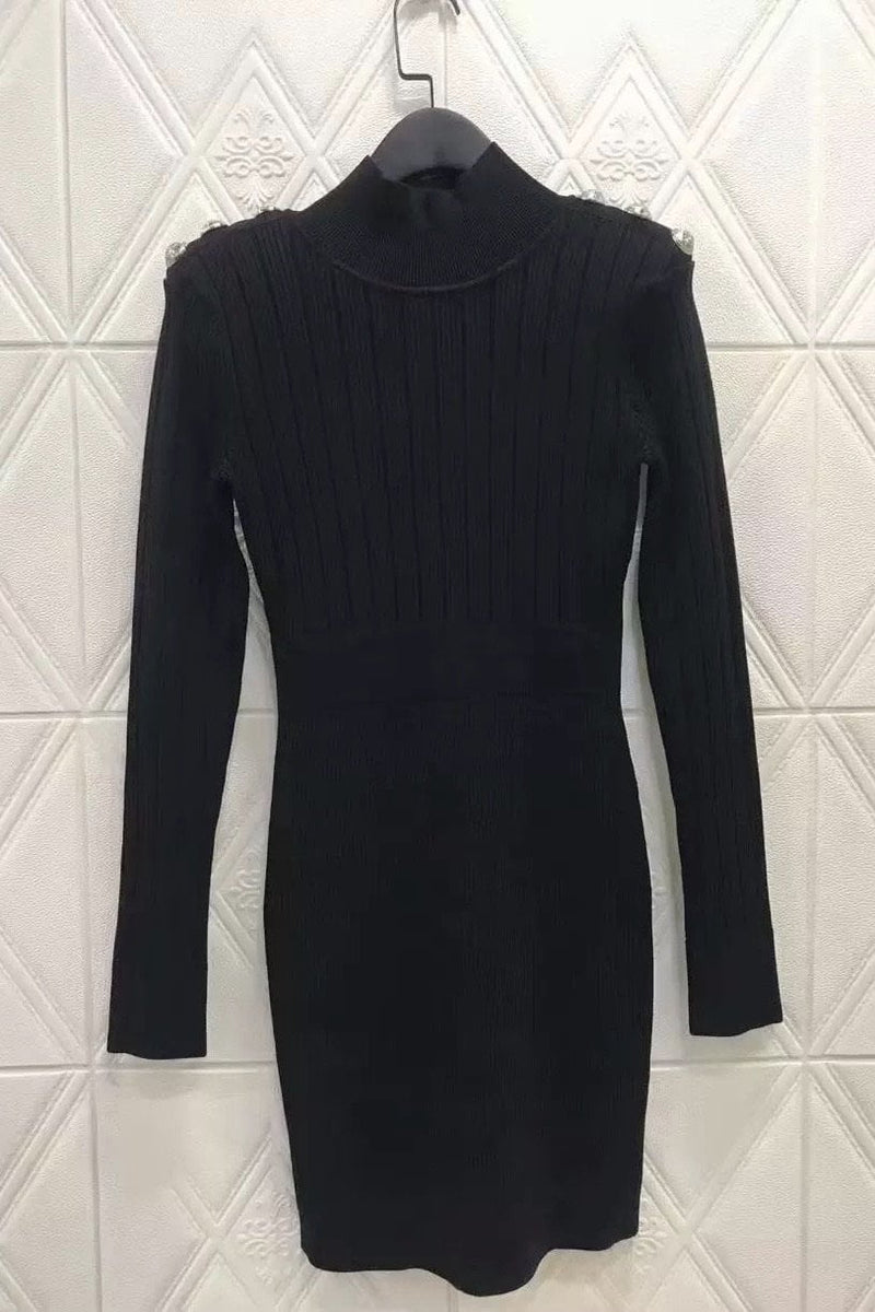 Jessica Bara Melida Long Sleeve High Neck Knit Dress