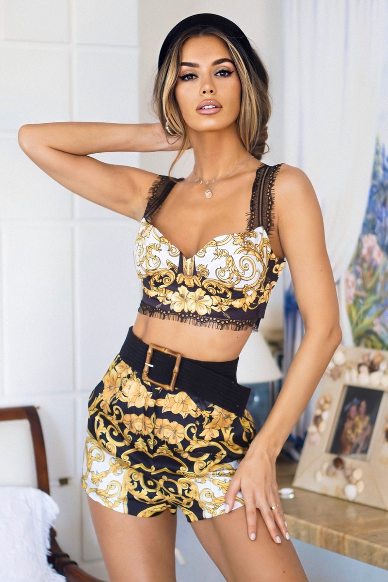Jessica Bara Kenzia Crop Top and Short Two Piece Set