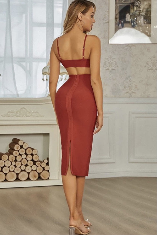 Jessica Bara Shana Cut Out Bandage Midi Dress