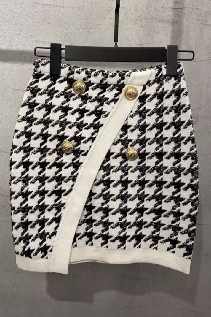 Jessica Bara Jayden Houndstooth Gold Button Mini Skirt