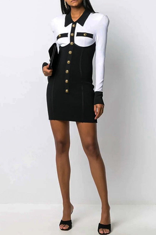 Jessica Bara Kalani Long Sleeve Gold Button Mini Dress