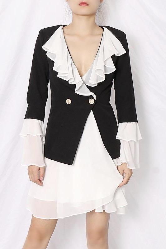 Jessica Bara Amory Long Sleeve Ruffle Blazer Dress