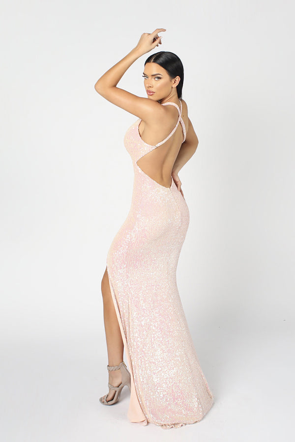 Nicole Bakti Sequin Backless Bodycon Gown