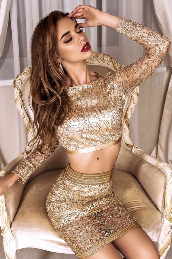 Jessica Bara Kasey Sequin Top and Skirt Two Piece Set