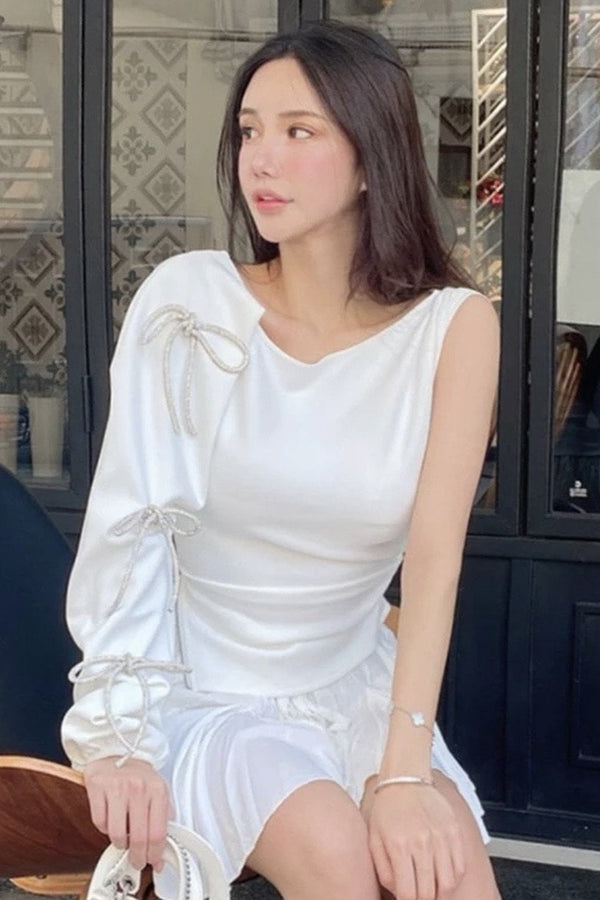 Jessica Bara Brodie One Shoulder Rhinestone Bowknot Top