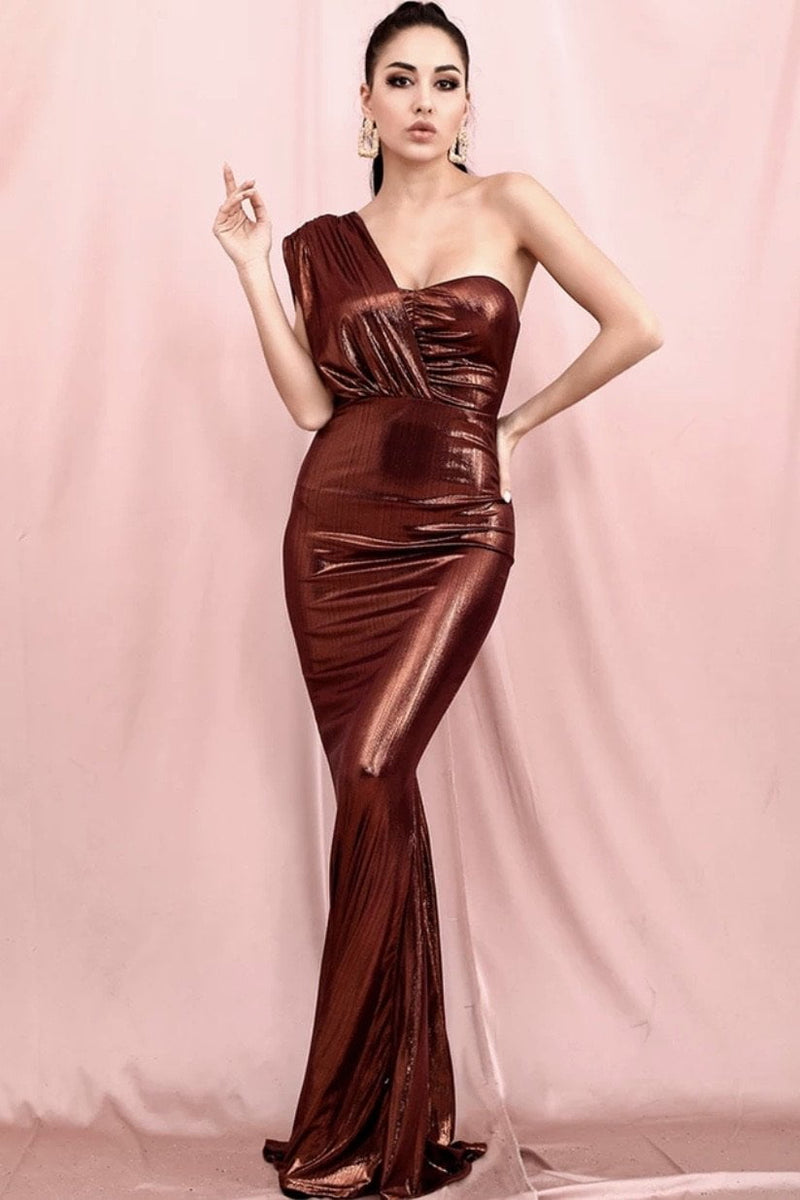Jessica Bara Andi One Shoulder Reflective Bodycon Gown