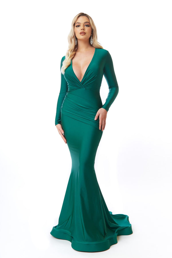 Atria Long Sleeve Ruched Back Gown
