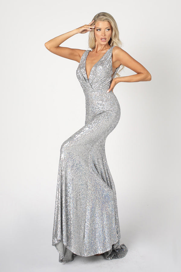 Nicole Bakti V Neck Sequin Bodycon Gown