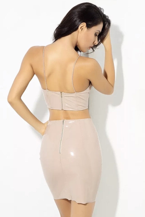 Jessica Bara Ari Faux Leather Crop Top and Skirt Two Piece Set