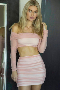 Jessica Bara Carli Crop Top And Skirt Two Piece Set