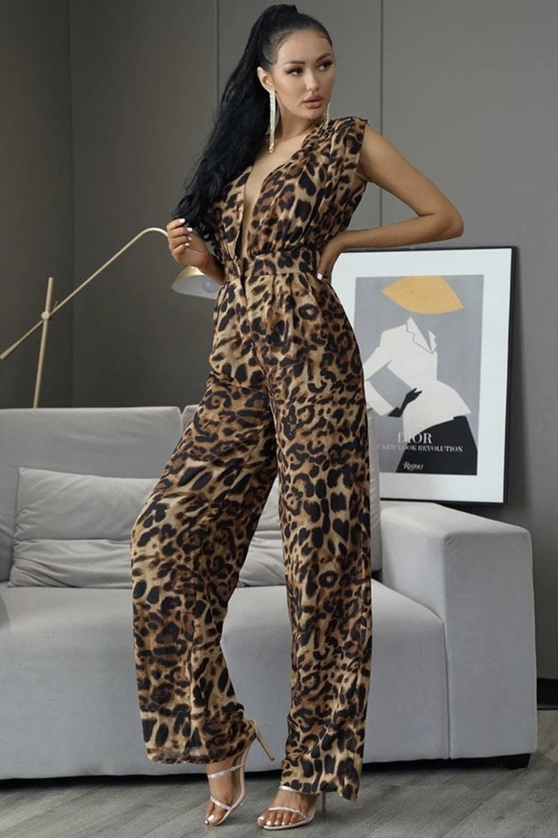 Jessica Bara Elina V Neck Open Back Jumpsuit
