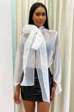 Jessica Bara Sarai Long Sleeve Bow Tie Blouse
