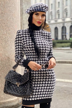 Jessica Bara Adrienne Houndstooth Bodycon Mini Dress