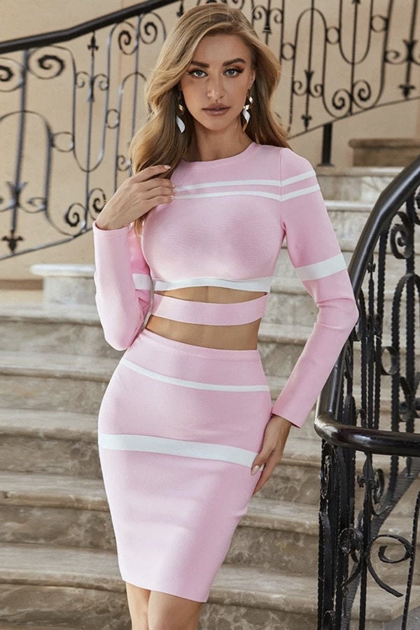 Jessica Bara Leo Crop Top And Skirt Two Piece Set