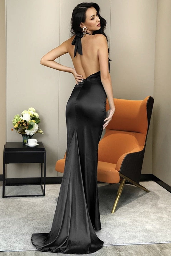 Jessica Bara Veda V Neck Open Back Bodycon Gown