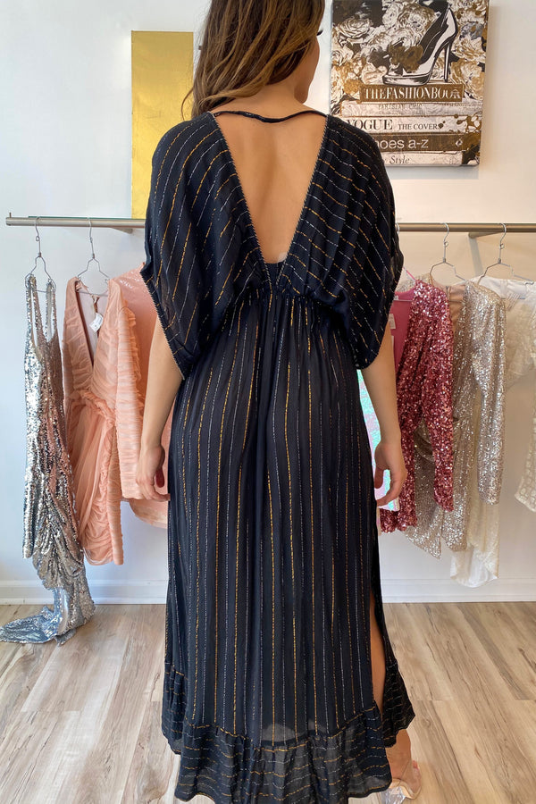 America And Beyond Metallic Striped Kimono