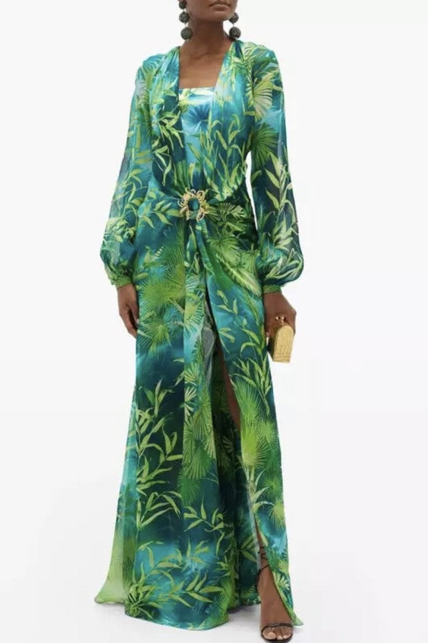 Jessica Bara Galilea Long Sleeve Tropical Print Maxi Dress