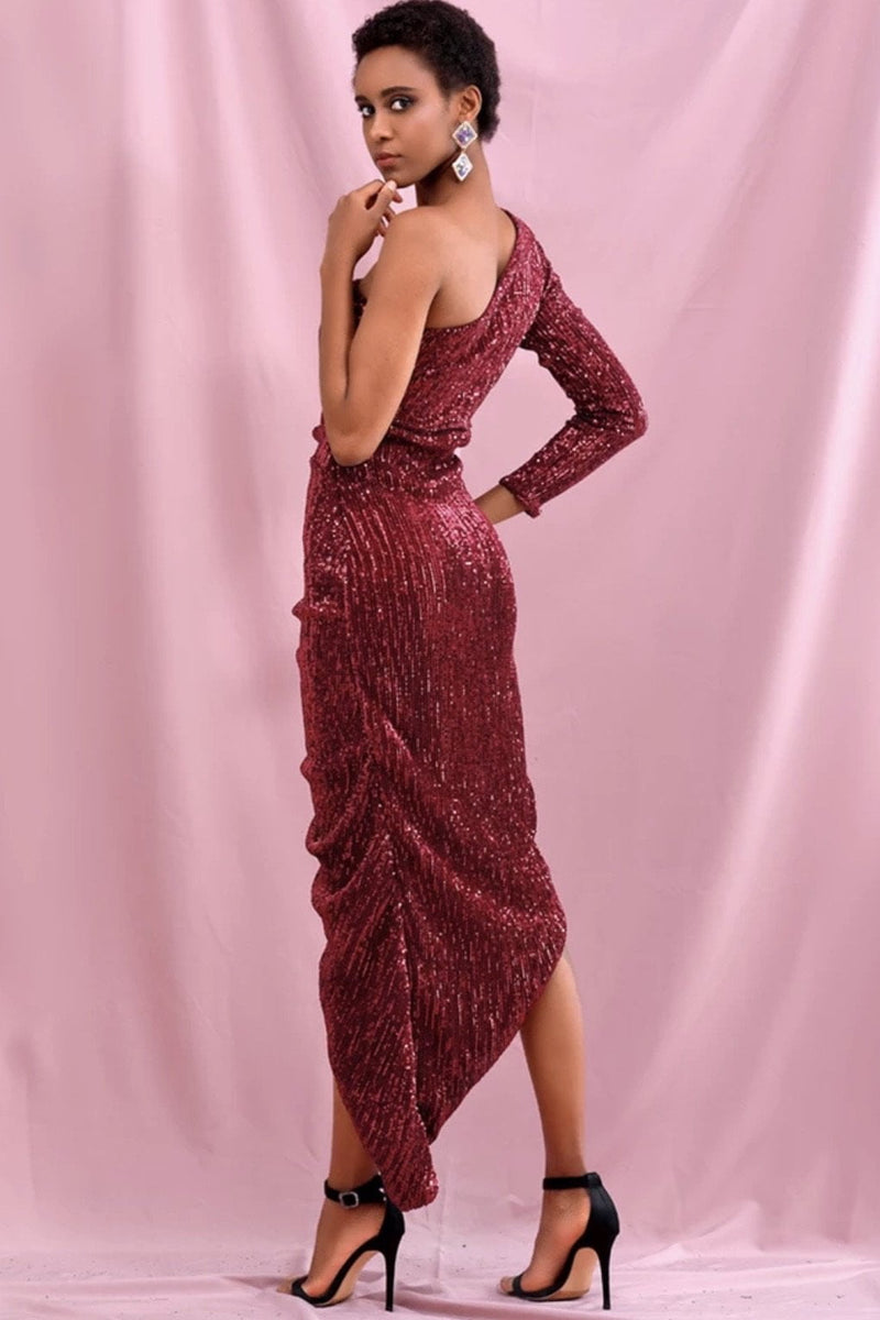 Jessica Bara Melisa One Shoulder Sequin Ruched Midi Dress