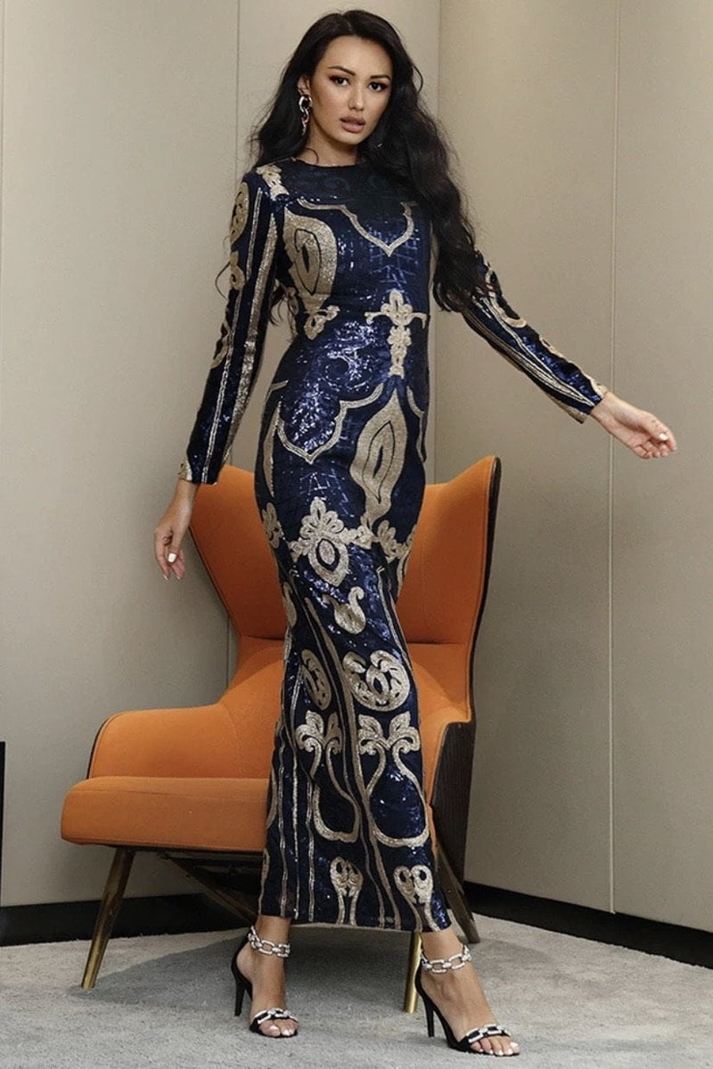 Jessica Bara Bellamy Long Sleeve Sequin Gown