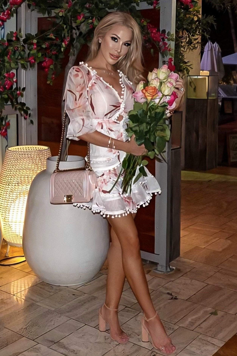 Jessica Bara Valentine Floral Dress with Pom Poms