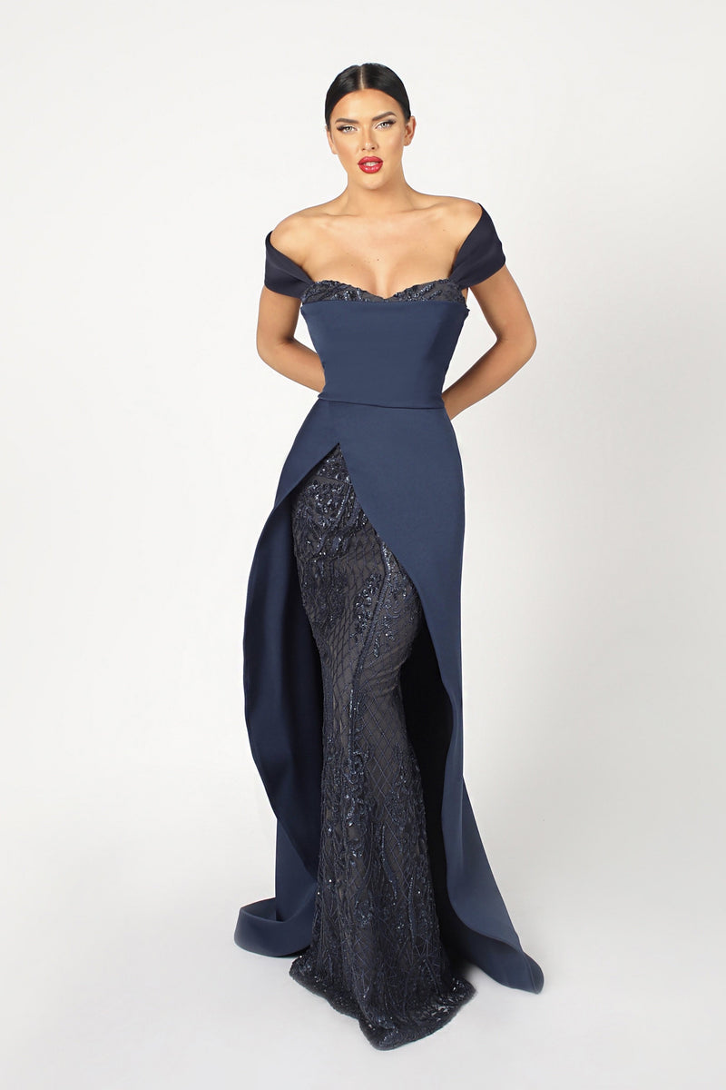 Nicole Bakti Off the Shoulder Bodycon Glitter Gown