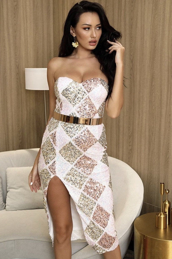 Jessica Bara Sasha Strapless Sequin Bodycon Midi Dress