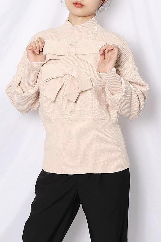 Jessica Bara Kennedy Bowknot Long Sleeve Sweater