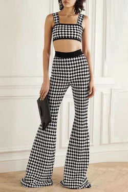 Jessica Bara Tatum Houndstooth Crop Top And Pant Two Piece Set
