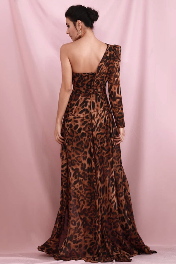 Jessica Bara Mira One Shoulder Leopard Maxi Dress