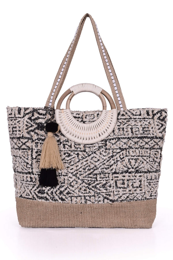 America And Beyond Printed Straw Tote