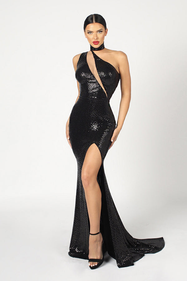 Nicole Bakti Choker Cut Out Sequin Gown