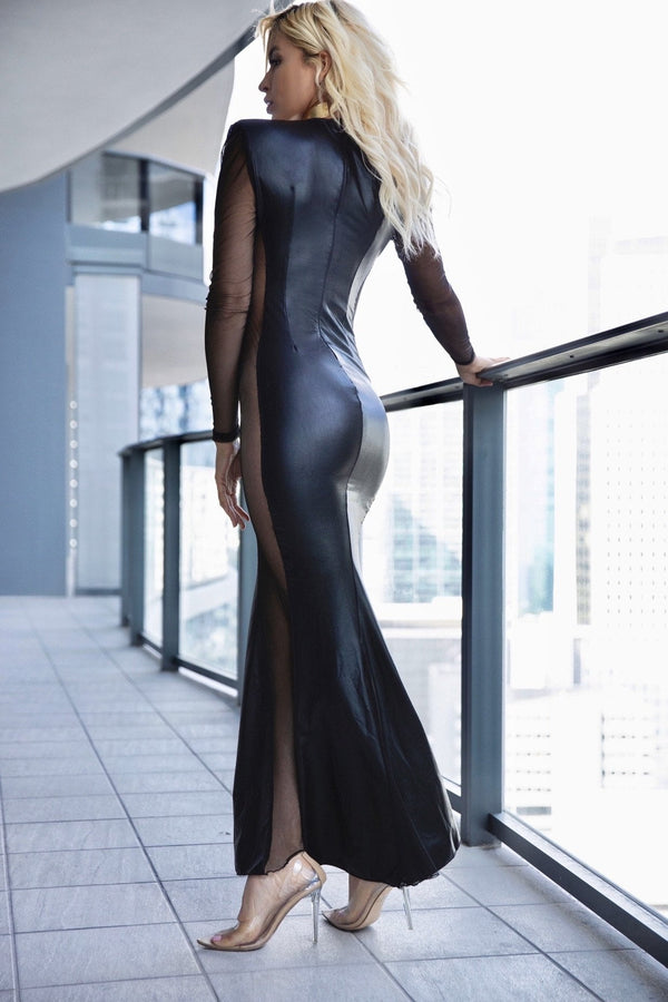 Cioccolato Vamp Faux Leather Mesh Gown