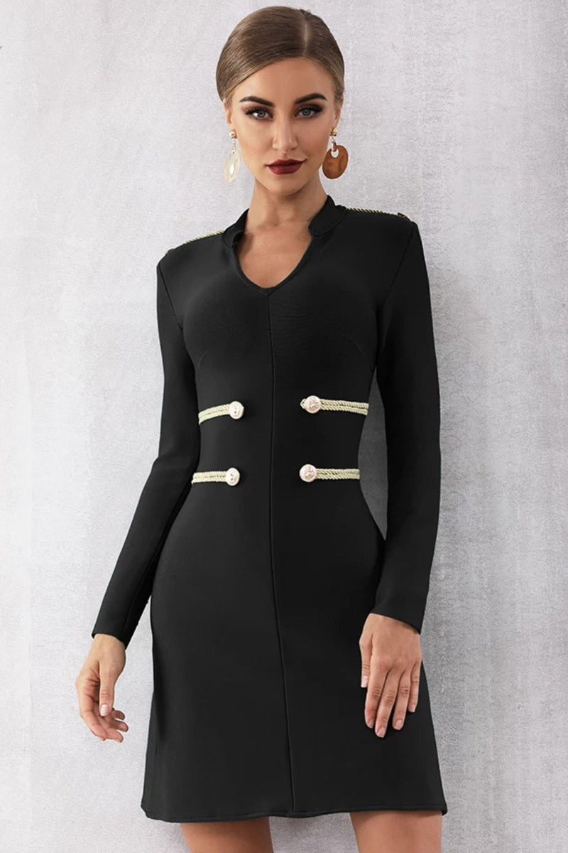 Jessica Bara Rylee Long Sleeve Bandage Mini Dress