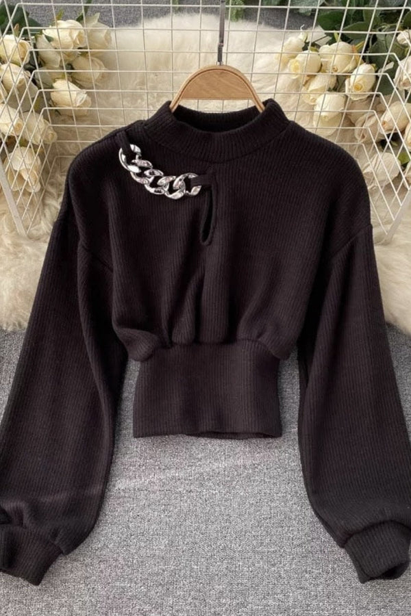 Jessica Bara Solara Long Sleeve Chain Knit Sweater
