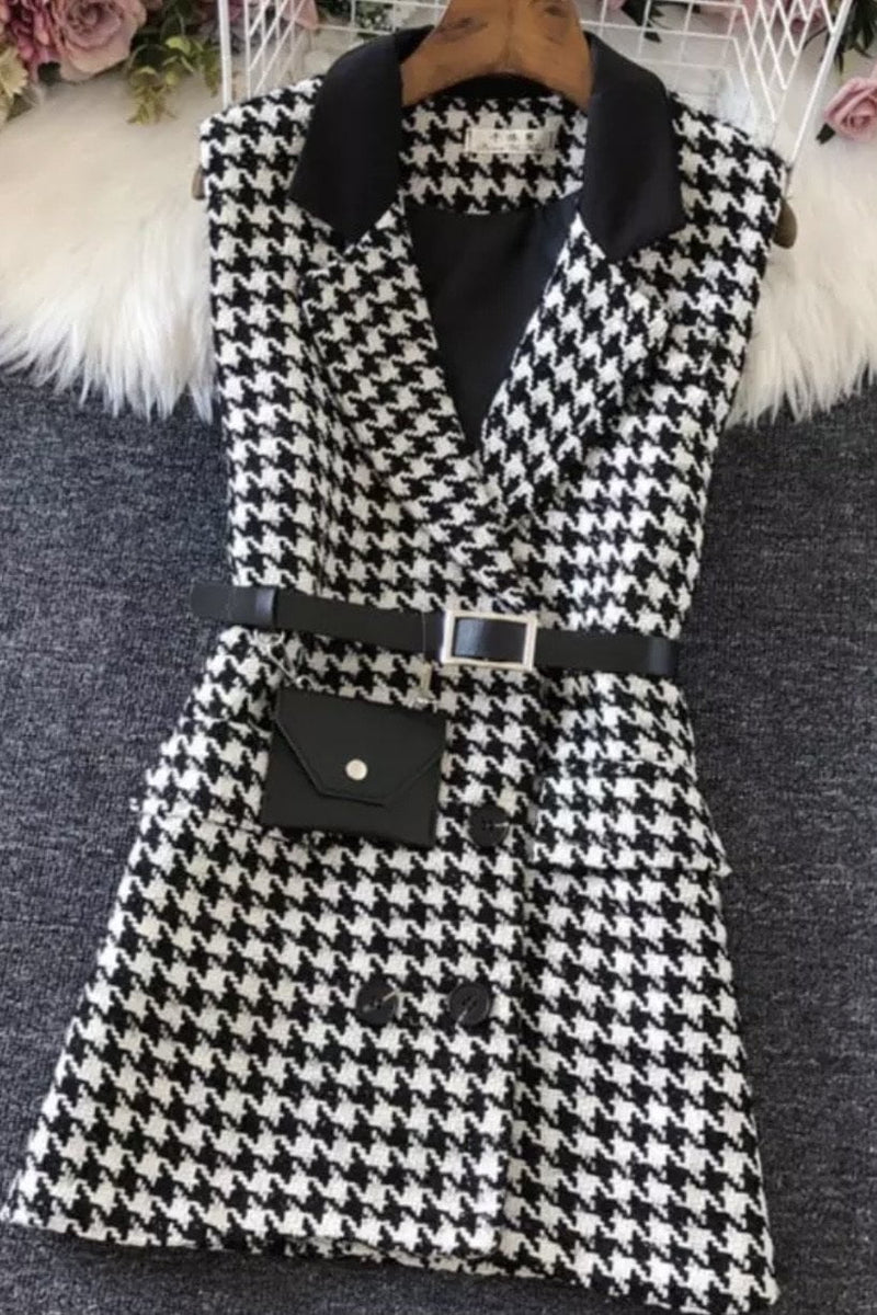 Jessica Bara Lezlie Sleeveless Houndstooth Mini Blazer Dress