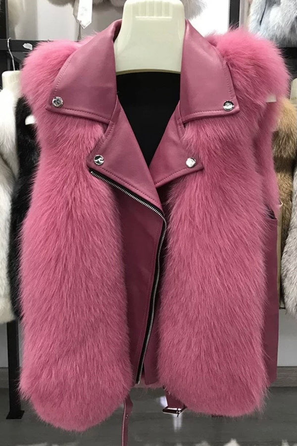 Jessica Bara Jaime Fur & Leather Vest